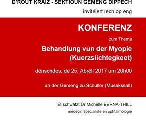 La section locale de la Croix-Rouge de la commune de Dippach invite à une conférence au sujet de la myopie