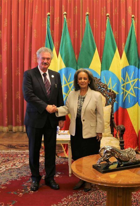 Jean Asselborn e a Presidente da Etiópia, Sahle-Work Zewde.