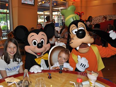 Rafael (second from right) had his dream of visiting Disneyland Paris come true this weekend, which included a special lunch with Mickey, Goofy and other characters.