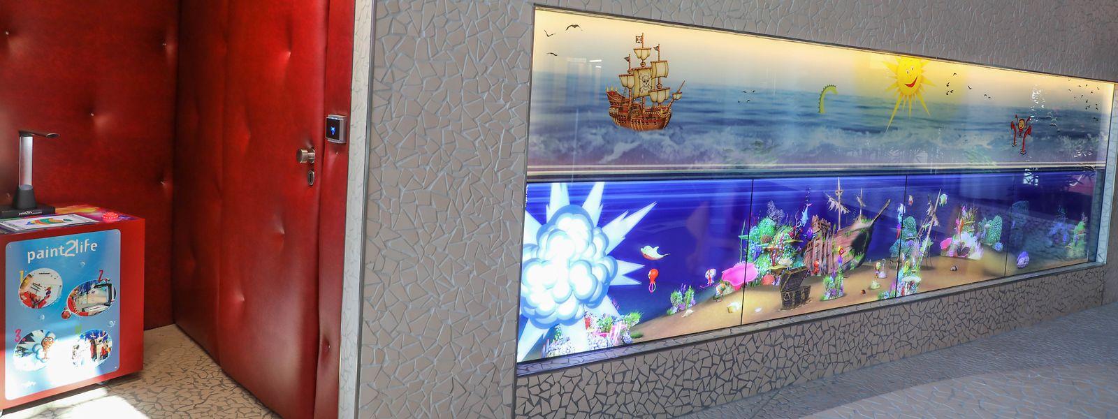 """Une des nouvelles attractions qui devraient vite faire le bonheur des enfants est ce """"Magic Wall"""" interactif."""