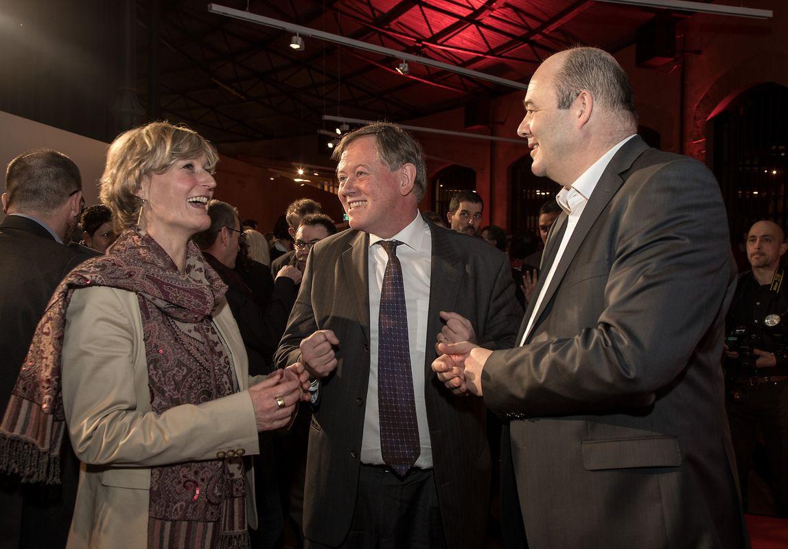 Staatssekretärin Francine Closener, Fraktionschef Alex Bodry und Parteichef Claude Haagen.