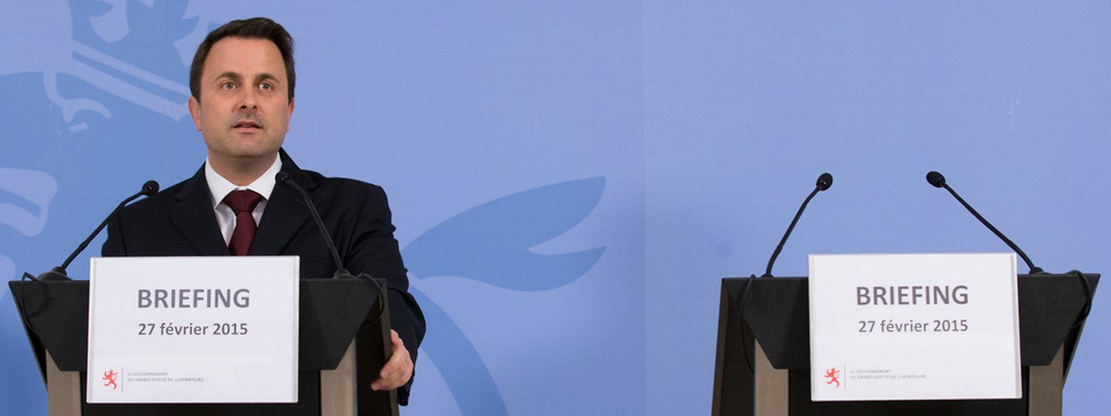 Anders als üblich, trat Premierminister Xavier Bettel am Freitag allein vor die Presse.