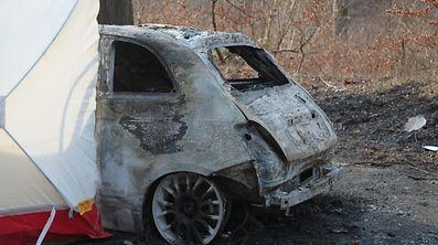 13.3.2017 Luxembourg, Dommeldange Accident Autobrand, Auto in Flammen, voiture brûlée, un mort  photo Anouk Antony
