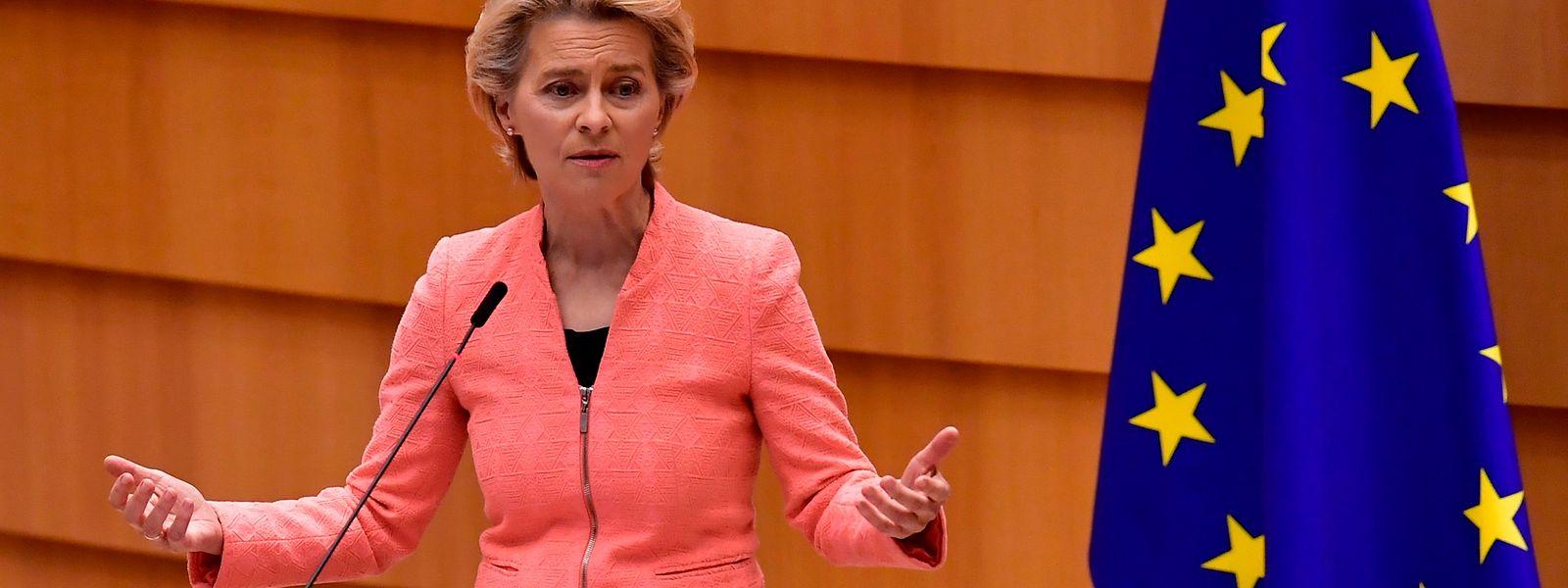 Ursula von der Leyen bei ihrer Rede vor den Parlamentariern.