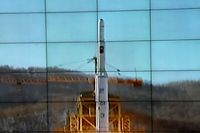 In this monitor screen image taken by the Korean Central News Agency and distributed in Tokyo by the Korea News Service, the Unha-3 rocket lifts off from a launch site on the west coast, in the village of Tongchang-ri, about 56 kilometers (35 miles) from the Chinese border city of Dandong, North Korea, Wednesday, Dec. 12, 2012. North Korea successfully fired a long-range rocket on Wednesday. (AP Photo/Korea Central News Agency via Korea News Service)  JAPAN OUT UNTIL 14 DAYS AFTER THE DAY OF TRANSMISSION