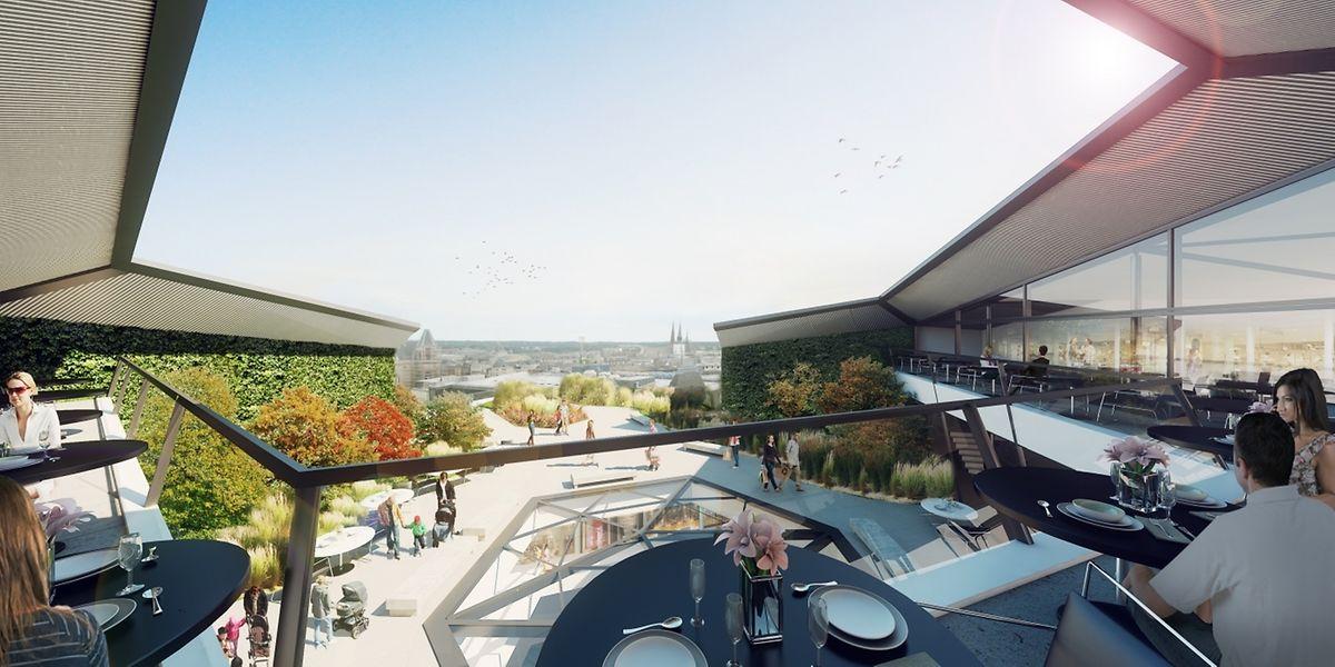 L'emplacement rooftop du Royal Hamilius, prévu pour un restaurant, reste à saisir...