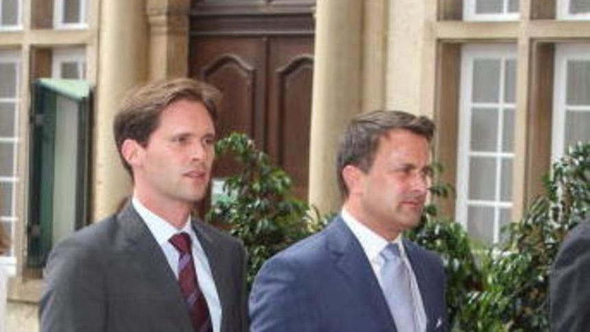 Luxembourg Prime Minister Xavier Bettel with his partner Gauthier Destenay at the Te Deum