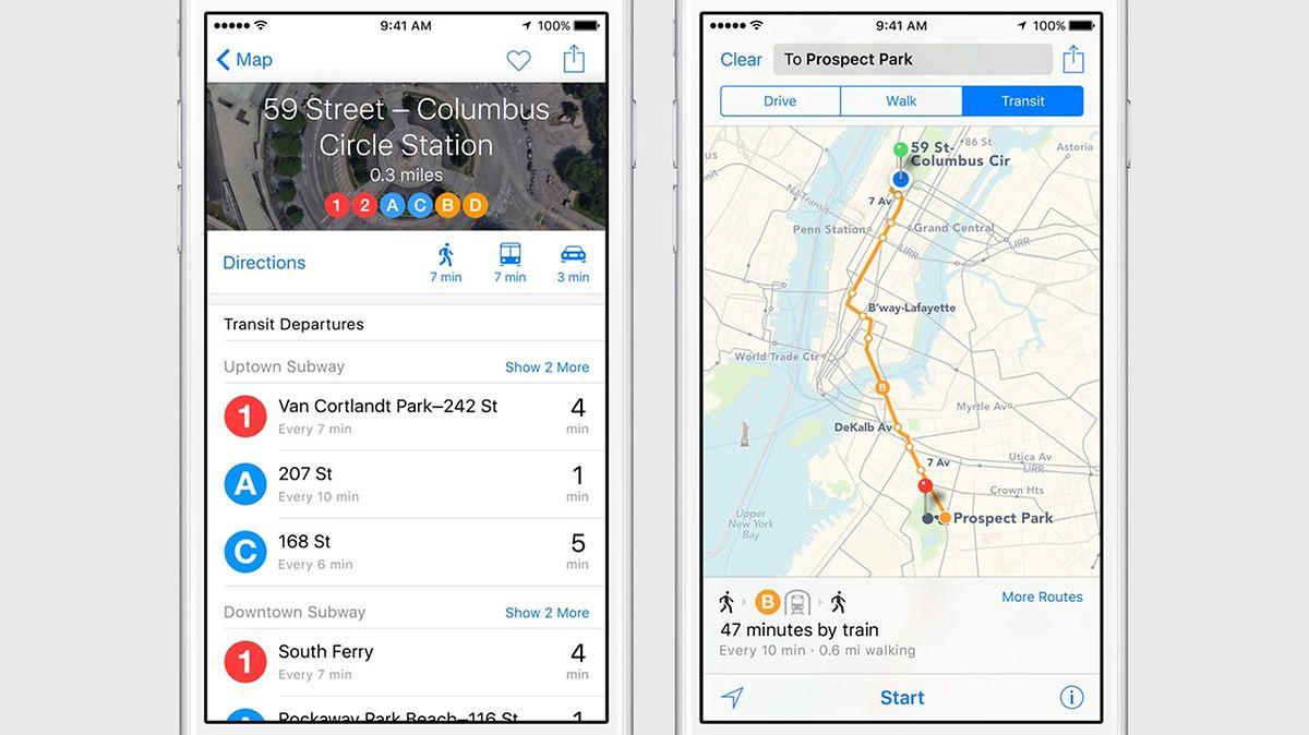 Die Karten-App zeigt nun auch Informationen zum öffentlichen Transport an. Aber nur in ausgewählten Städten.