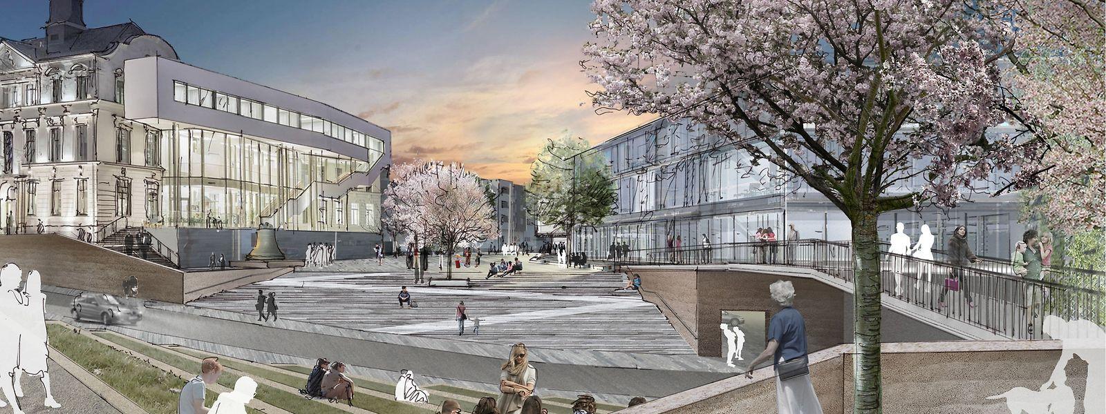 So oder so ähnlich hätte der Platz Nelson Mandela neben dem Aalt Stadhaus, samt Tiefgarage, umgebaut werden sollen. Das Projekt wird aber aus finanziellen Gründen verschoben. Grafik: Latz und Partner