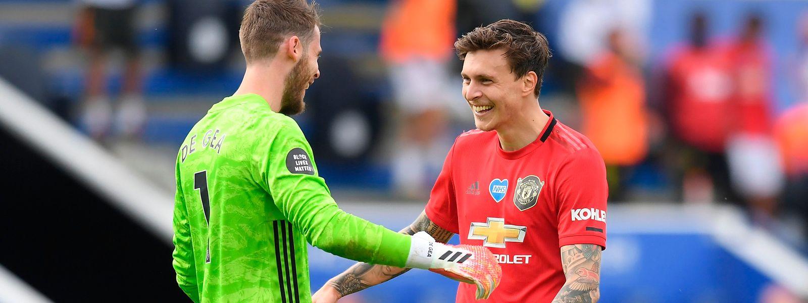 David de Gea (l.) und Victor Lindelöf können strahlen. Manchester United hat die Minimalzahl erreicht.