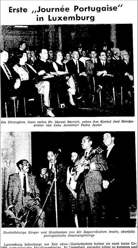 Artigo publicado em 19 de Junho de 1965, no Luxemburger Wort (pág. 8), sobre o Dia de Portugal e de Camões, celebrado pela primeira vez no Luxemburgo no domingo anterior