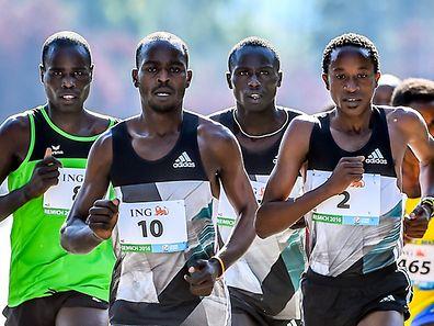 Die afrikanischen Läufer laufen vorne weg.