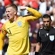 England's goalkeeper Jordan Pickford celebrates a goal during the penalty shootout during the UEFA Nations League third place football match between England and Switzerland at the D.Afonso Henriques stadium in Guimaraes, on June 9, 2019 (Photo by MIGUEL RIOPA / AFP)