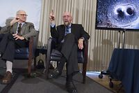 (FILES) This file photo taken on February 11, 2016 in Washington shows LIGO co-founders Kip Thorne (R), and Rainer Weiss (L), speaking about their discovery showing the ripples in the fabric of spacetime called gravitational waves that scientists have observed for the first time. Weiss, Barry Barish and Thorne won the Nobel Physics Prize 2017 for gravitational waves, the Royal Swedish Academy of Sciences announced October 10, 2017 in Stockholm. / AFP PHOTO / SAUL LOEB