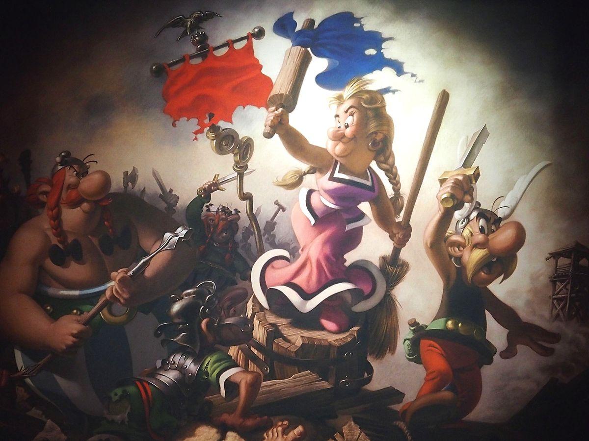 """Quand le 9ème art croise Delacroix, cela donne ce pastiche visible comme d'autres oeuvres """"signées"""" de Vinci, Rigaud, Arcimboldo avec toujours Astérix et sa clique servant de modèles."""