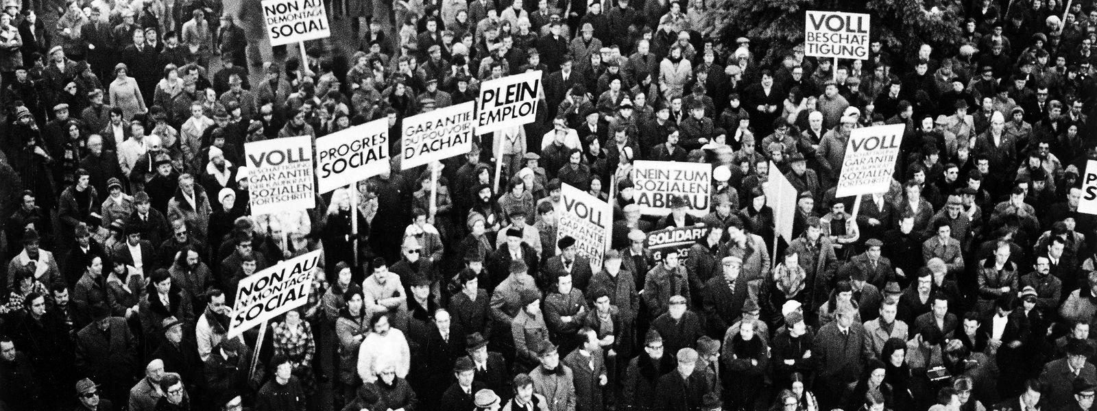 Die Stahlkrise war die Mutter der Tripartite. Im Dezember 1976 forderten die Gewerkschaften bei einer Demonstration auf dem Knuedler die Regierung zum Dialog mit den Sozialpartnern auf.