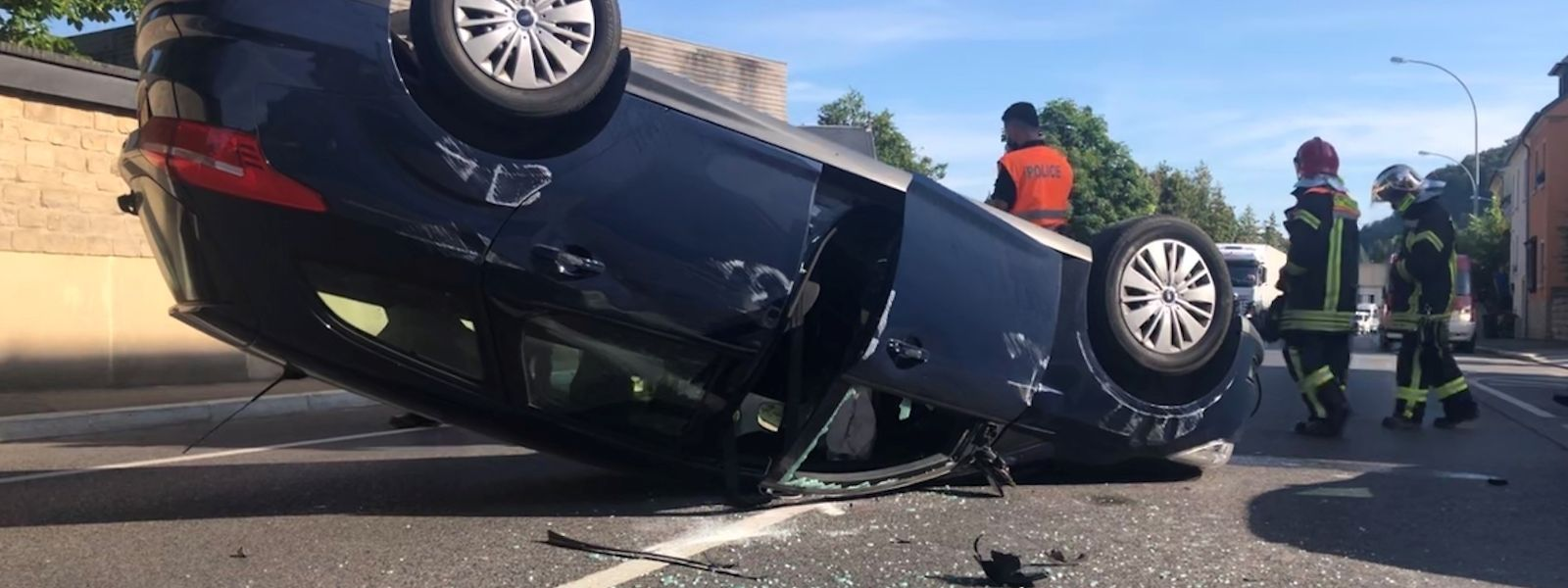 Unfall in Heisdorf mit einem Verletzten.