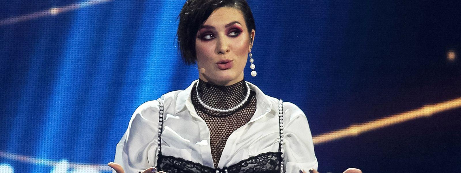 Maruv, Sängerin und Teilnehmerin am Eurovision Song Contest (ESC) für die Ukraine, spricht nach ihrem Auftritt beim nationalen Vorentscheid.
