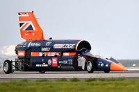 The Bloodhound supersonic car, driven by Andy Green, Royal Air Force Wing Commander, makes a test run at the airport in Newquay on October 26, 2017.    The Bloodhound SSC will be conducting its first high-speed trials today with the aim of breaking the world land speed record in South Africa in 2019. / AFP PHOTO / Ben STANSALL