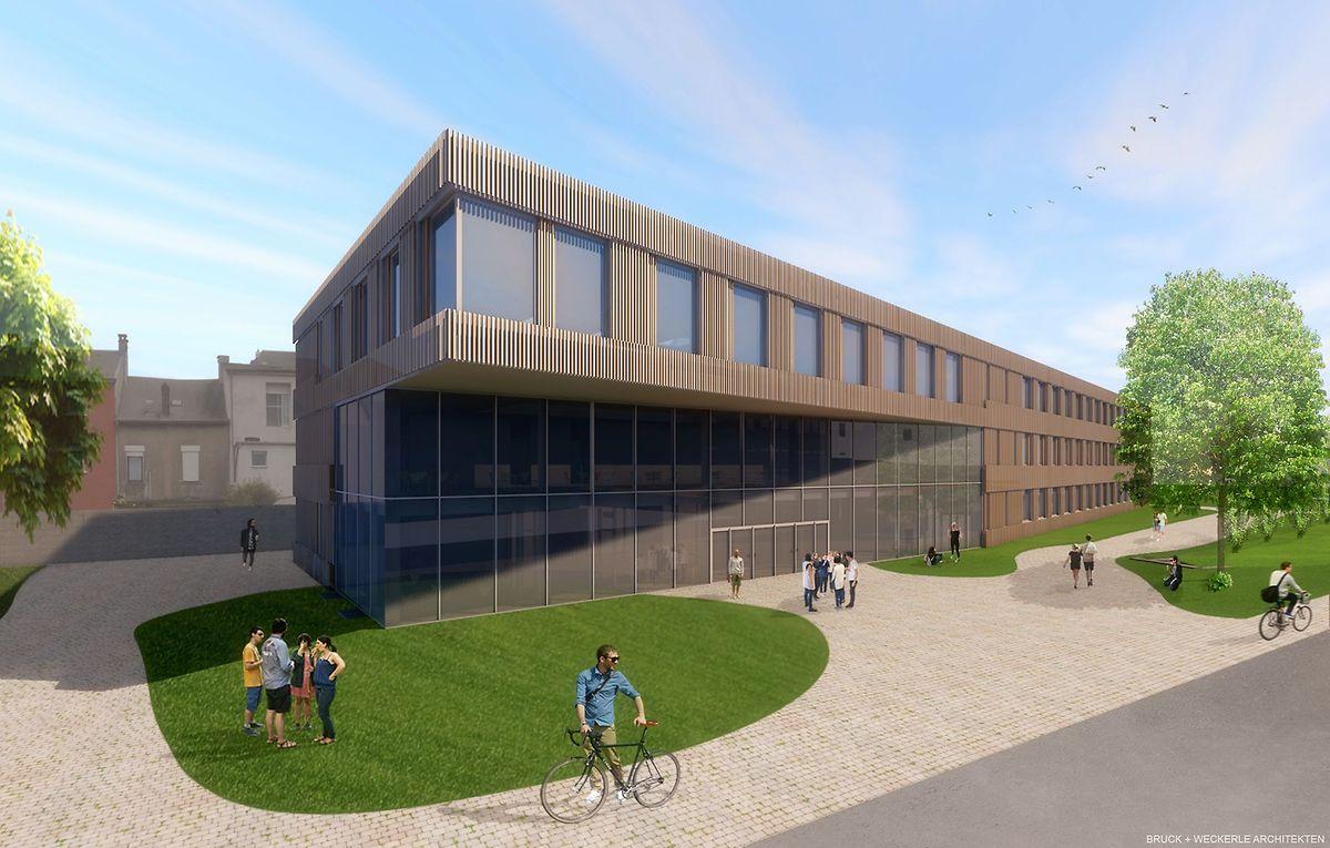 Das erste Gebäude der internationalen Schule in Differdingen soll im September erste Klassen empfangen auch wenn die Arbeiten erst für Ende des Jahres komplett abgeschlossen sein werden.