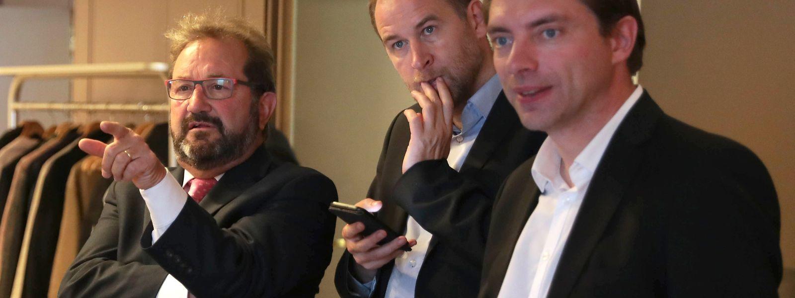 Die Rechnung der ADR ging nicht auf: Die Sprachen- und Identitätsdebatte verfing nicht. Fred Keup (r.) und Tom Weidig (Mitte) konnten sich nicht durchsetzen. ADR-Frontmann Gast Gibéryen (l.) konnte hingegen deutlich zulegen.