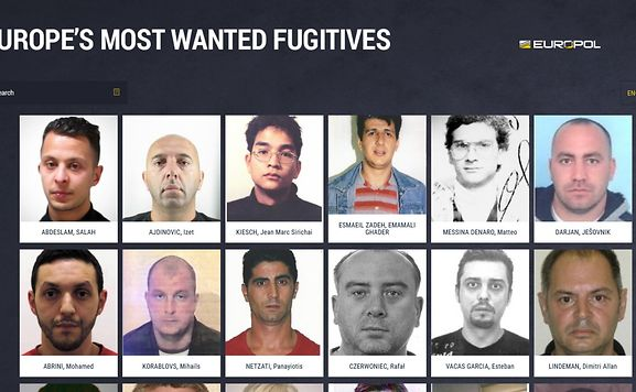 The new Europe's Most Wanted Fugitive website is available in 17 EU languages.
