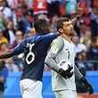 France's midfielder Paul Pogba (back) celebrates as Australia's goalkeeper Mathew Ryan reacts to conceding a goal during the Russia 2018 World Cup Group C football match between France and Australia at the Kazan Arena in Kazan on June 16, 2018. / AFP PHOTO / Kirill KUDRYAVTSEV / RESTRICTED TO EDITORIAL USE - NO MOBILE PUSH ALERTS/DOWNLOADS