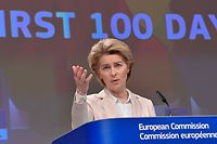 European Commission President Ursula von der Leyen delivers a speech at the EU headquarters in Brussels on March 9, 2020. (Photo by JOHN THYS / AFP)