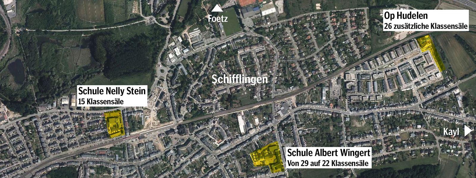 Weil die Schule Lydie Schmith während ihres Umbaus nicht zur Verfügung stehen wird, baut die Gemeinde ein Provisorium Op Hudelen. Später soll dort eine definitive Schule entstehen.