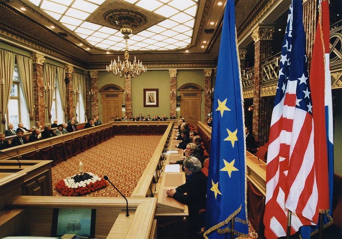 """Le 13 septembre 2001, Jean Spautz, président de la Chambre, déclare à la Chambre : """"Cette attaque n'était pas destinée à l'Amérique mais à tous les pays qui s'engagent pour la justice""""."""