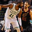 BOSTON, MA - JANUARY 3: Jose Calderon #81 of the Cleveland Cavaliers defends Kyrie Irving #11 of the Boston Celtics during the second half at TD Garden on January 3, 2018 in Boston, Massachusetts.   Maddie Meyer/Getty Images/AFP == FOR NEWSPAPERS, INTERNET, TELCOS & TELEVISION USE ONLY ==