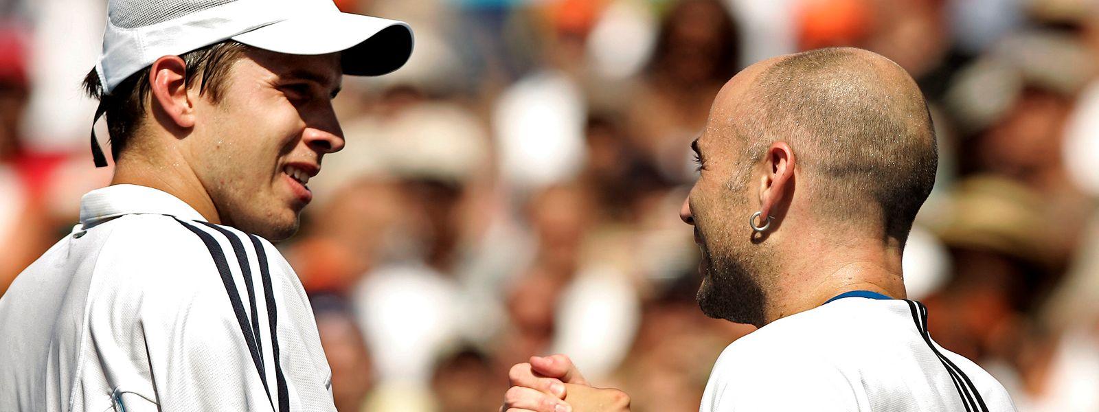 2005 gewann Andre Agassi (r.) das Finale von Los Angeles gegen Gilles Muller.