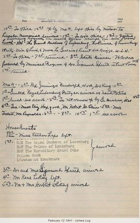 A page out of President Roosevelt's diary showing an appointment with the Grand Duchess