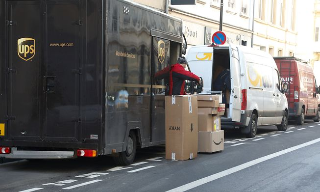 A UPD driver delivers parcels in Luxembourg