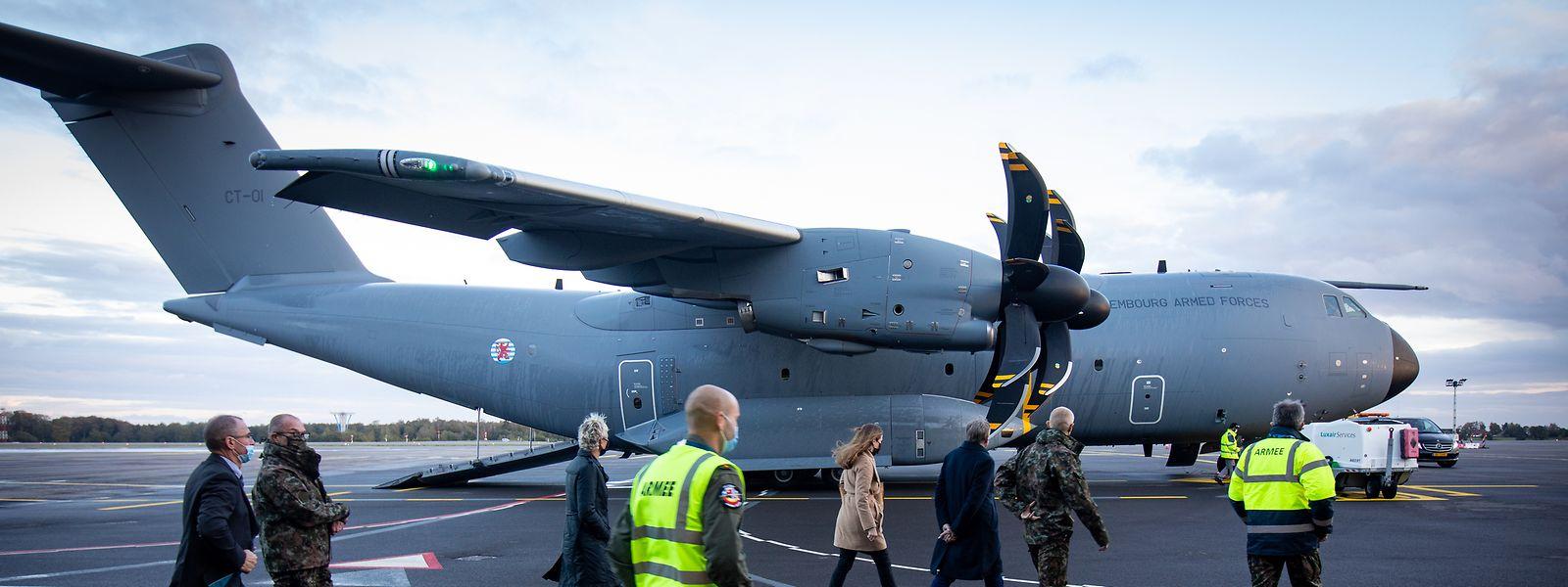 Der brandneue Airbus-Militärtransporter ist am Mittwoch in Luxemburg gelandet.