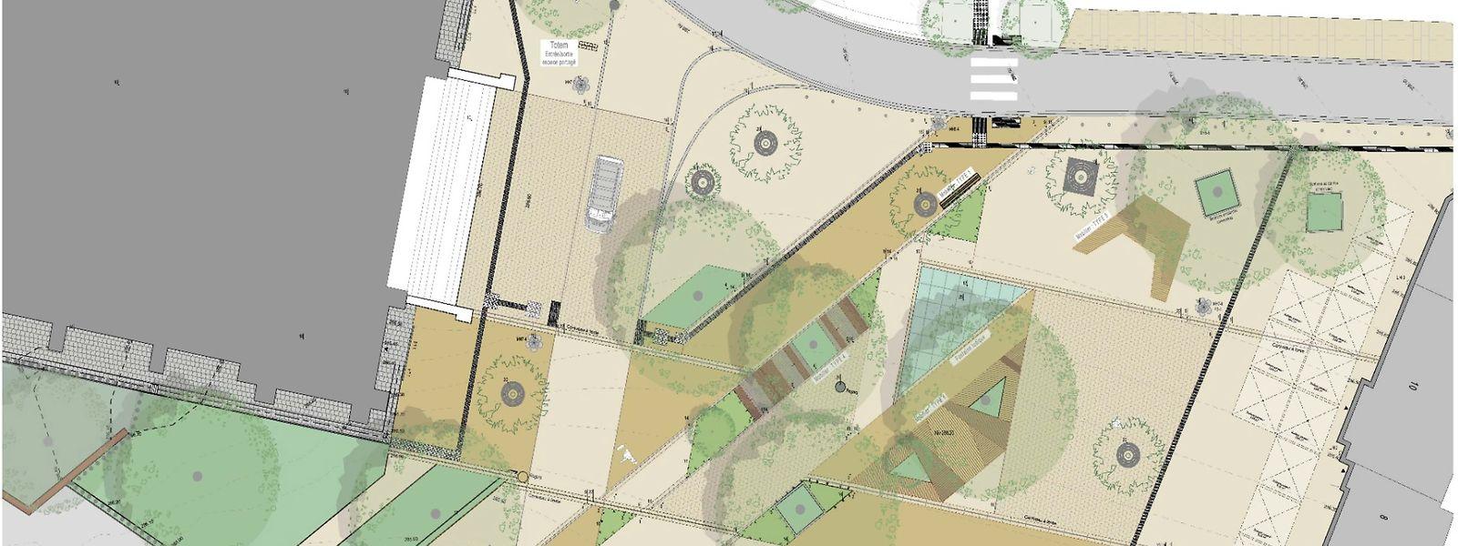 Die Place Kinnen wird nur noch entlang der Rue Zinnen (oben links) und der Rue du Commerce (oben rechts) eine klassische Fahrbahn aufzeigen. Der Shared-Space der Niddeschgaass wird erweitert.