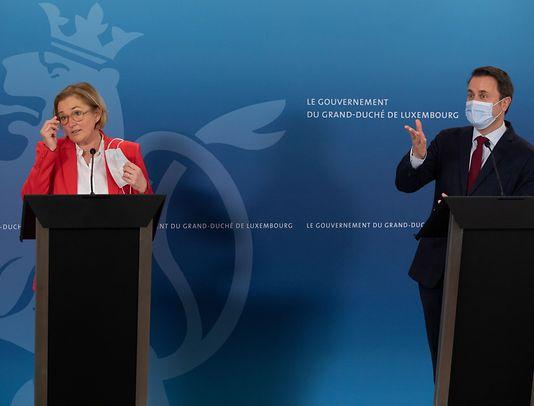 Health Minister Paulette Lenert and Prime Minister Xavier Bettel at a press conference last month