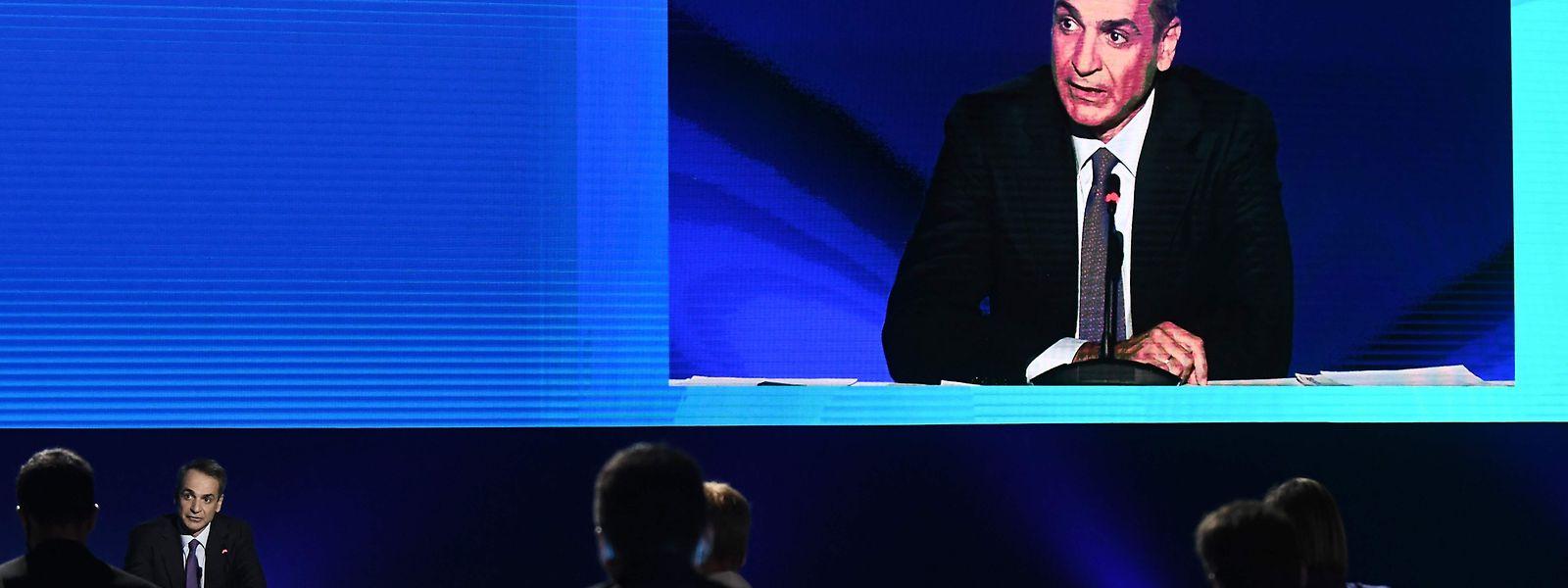 Premierminister Kyriakos Mitsotakis während einer Ansprache.