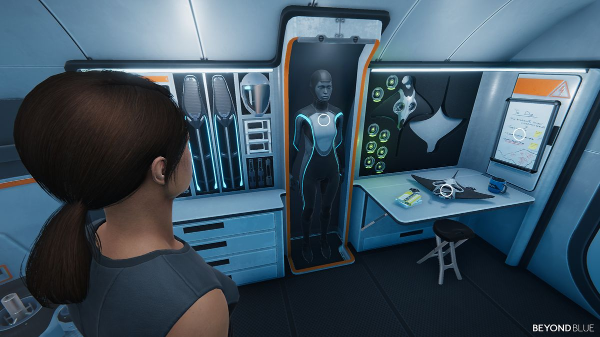 """Zwischen den Tauchgängen zieht sich Taucherin Mirai, Hauptfigur von """"Beyond Blue"""", auf ein kleines U-Boot zurück."""
