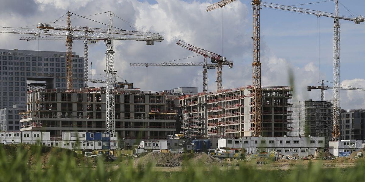 Eine riesige Baustelle: Nach und nach werden die unterschiedlichen Gebäude am Ban de Gasperich realisiert.