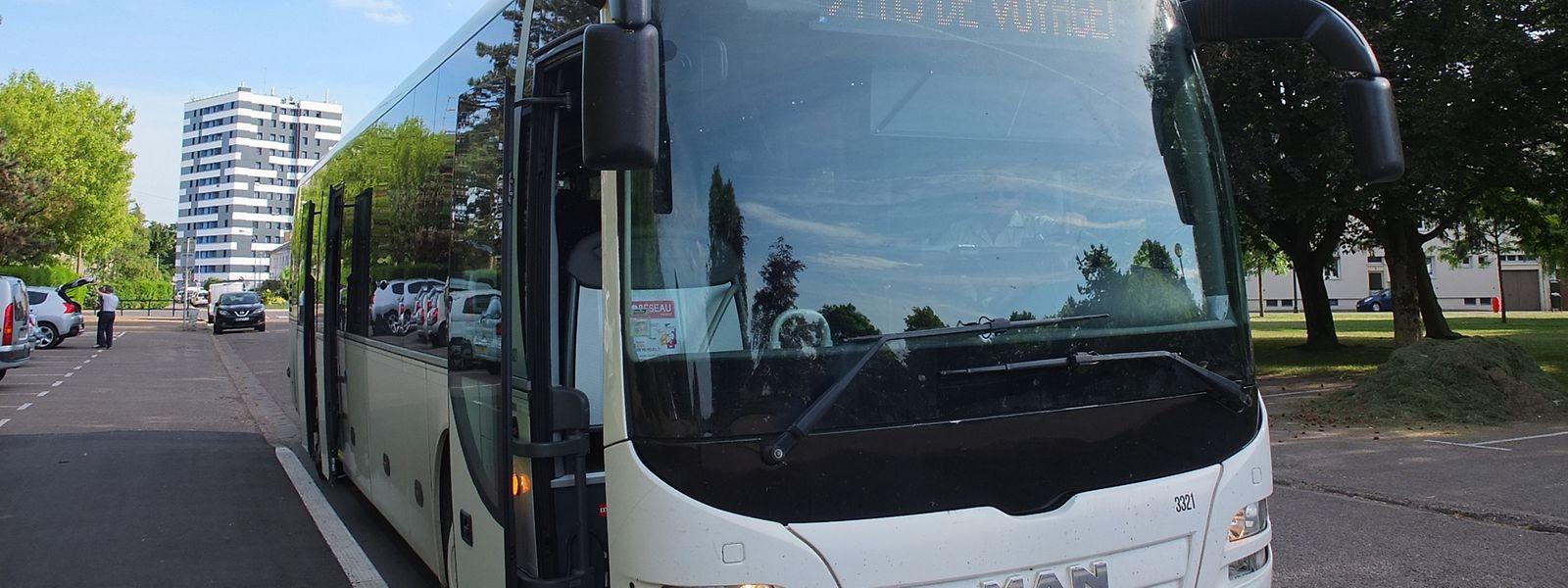 «Ce bus ne prend pas de voyageurs»: le 302, à l'arrêt Thionville Saint-François, le 31 mai.