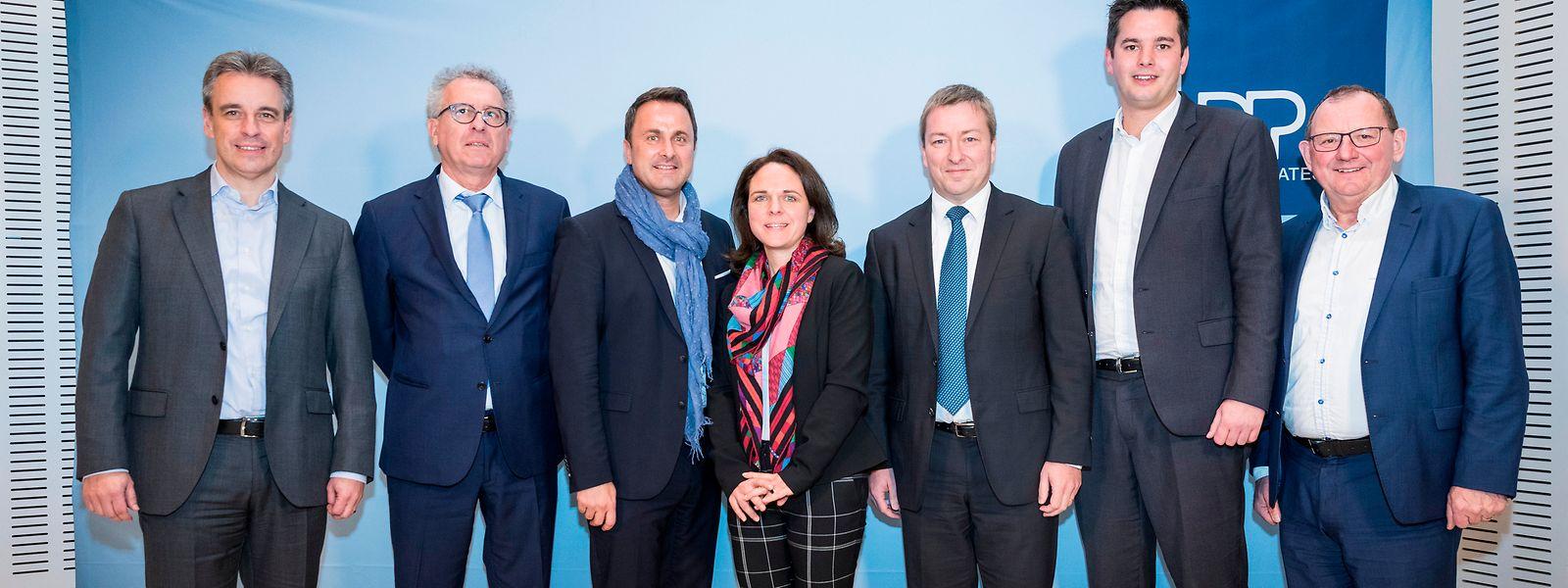 Claude Meisch, Pierre Gamegna, Xavier Bettel, Corinne Cahen, Marc Hansen, Lex Delles und Fernand Etgen