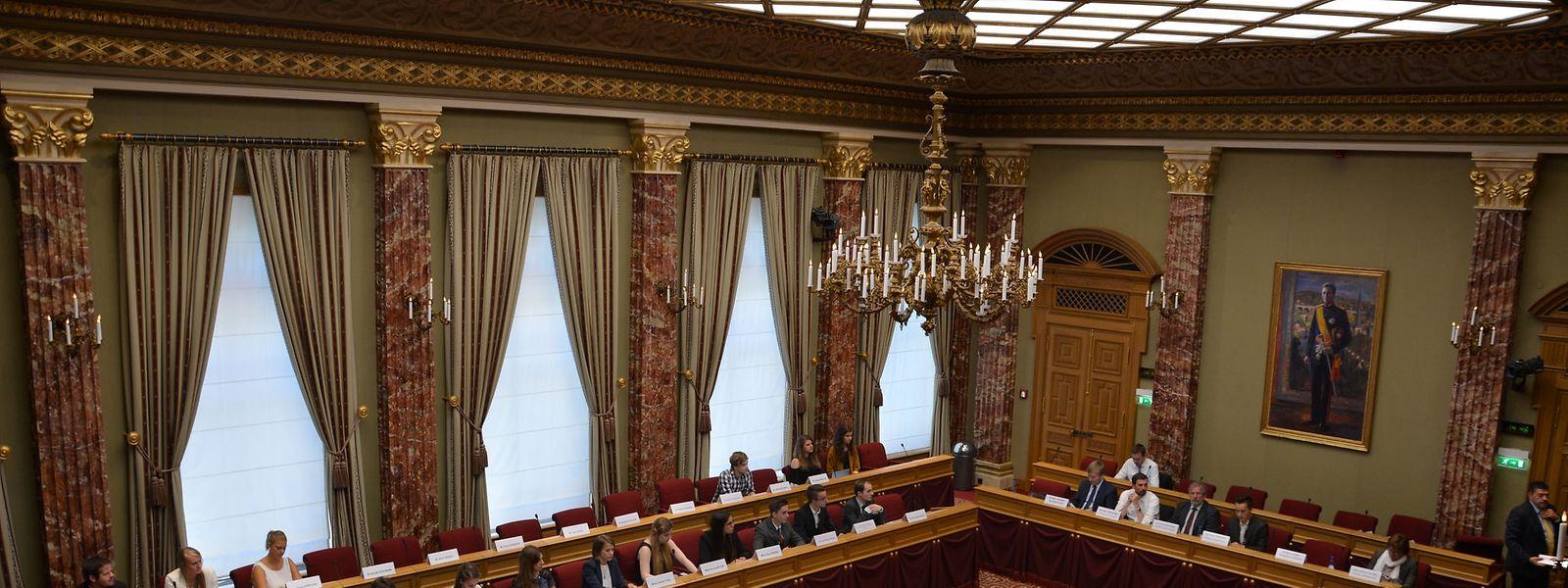 Jugendparlamentarier beim Empfang in der Abgeordnetenkammer am 10. Juli 2015.