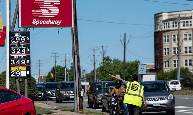 Motorists lined up for fuel in suburban Washington, D.C., on Thursday at one of the few remaining gas stations that still had petrol after the Colonial Pipeline network was shut down last week by a cyber attack.