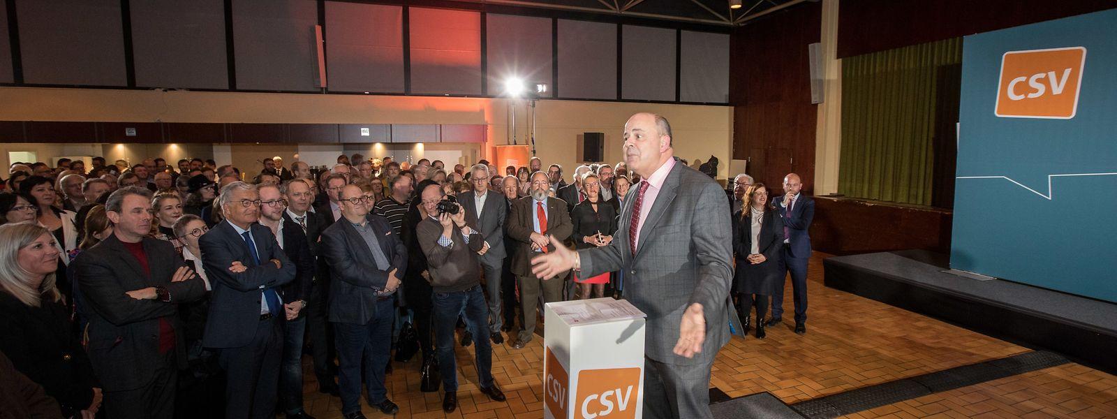 Der scheidende Parteivorsitzende Marc Spautz bei seiner Rede beim Neujahrsempfang der CSV.