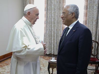 Pope Francis (L) speaks with the Portuguese Prime Minister Antonio Costa (R) during a meeting at Our Lady do Carmo House at Fatima Sanctuary, Leiria, Portugal, 13 May 2017. Pope Francis is in visiting Fatima on 12 and 13 May on the 100th anniversary of the appearances of Mary. PAULO CUNHA/POOL/LUSA