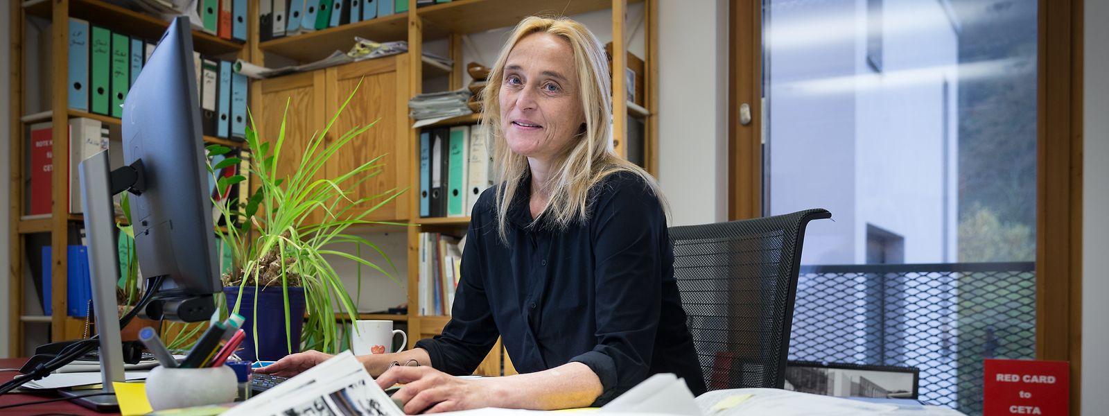 """Blanche Weber in ihrem Büro im neuen Oekozenter: """"Eine einmalige Chance, dessen positive Auswirkungen die Erwartungen übertroffen haben."""""""