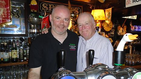 Current proprietor Caolan O'Neill and former owner Philip MacKenna celebrated on Saturday.