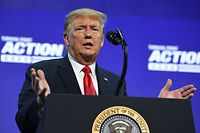 US President Donald Trump speaks during a Students for Trump event at the Dream City Church in Phoenix, Arizona, June 23, 2020. (Photo by SAUL LOEB / AFP)