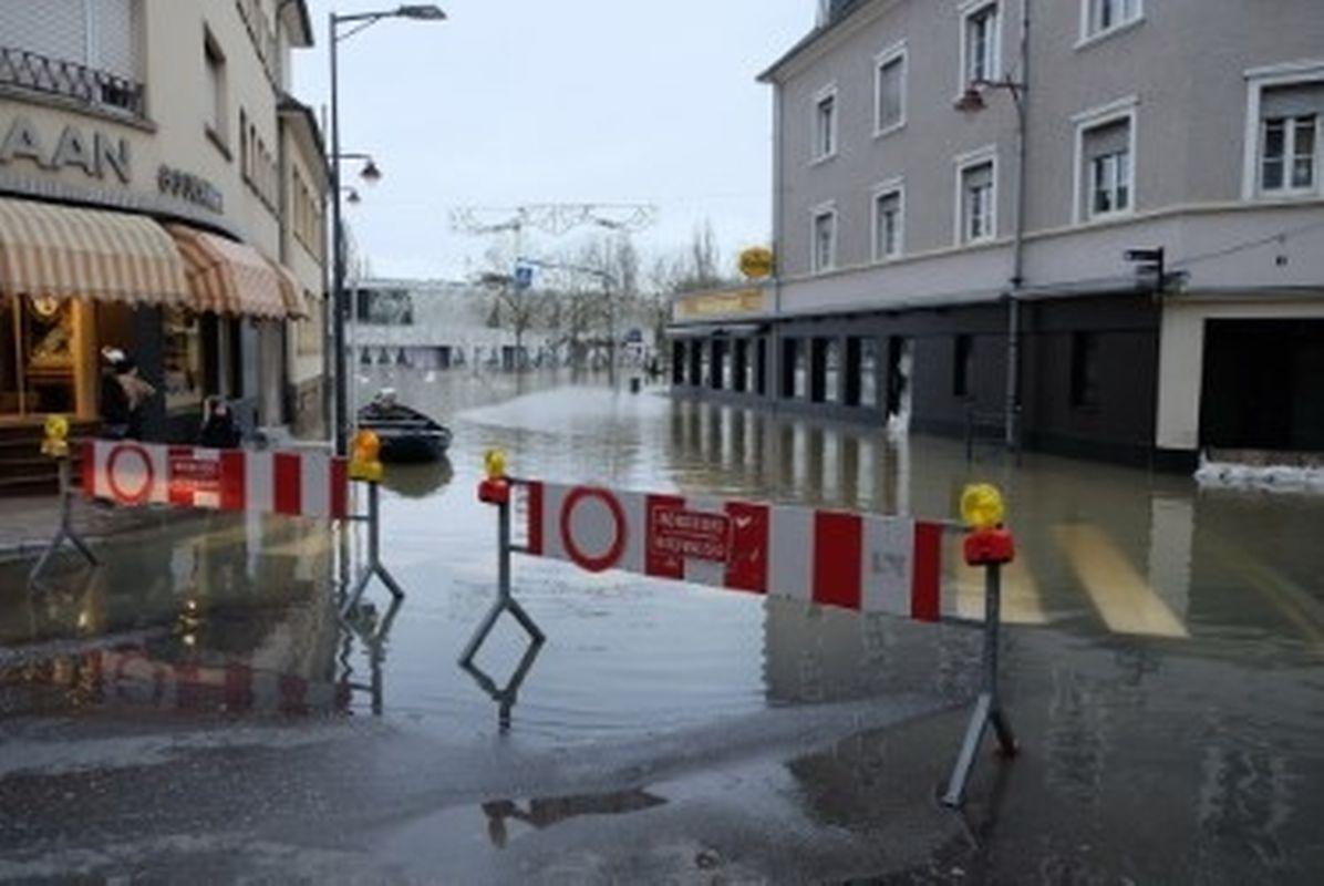 Das Hochwasser in Remich am Sonntagmorgen.